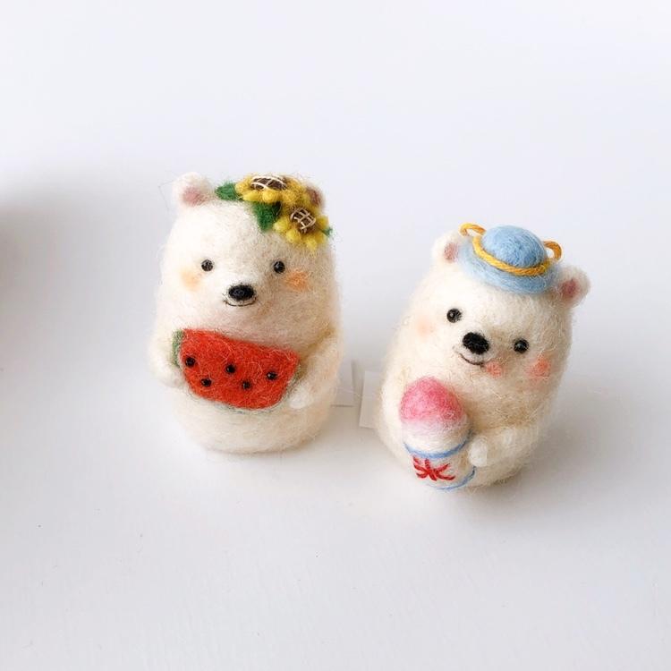 画像1: 【羊毛マスコット】シロクマ スイカ / かき氷 (1)