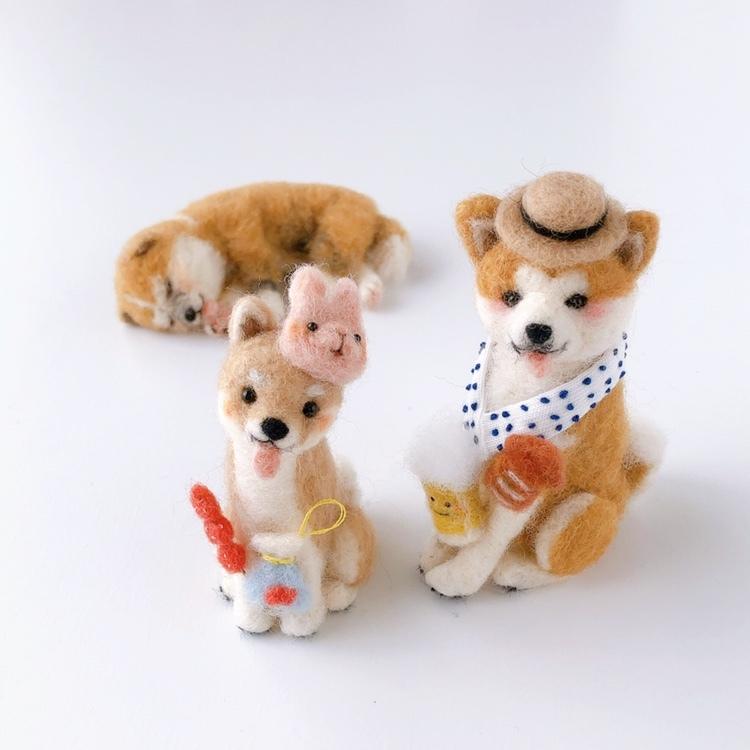 画像1: 【羊毛マスコット】秋田犬  /  柴犬  (1)